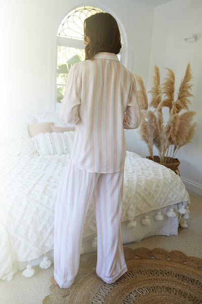 Pink Stripe Long Pj Set - Homebodii