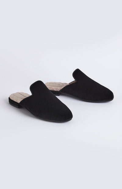 Florence Womens Velvet Slipper - Black