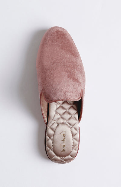 Florence Womens Velvet Slipper - Dusty Rose