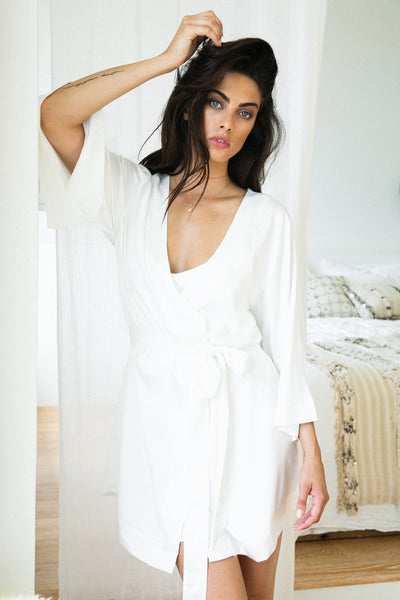 Jasmine Robe - White - Homebodii