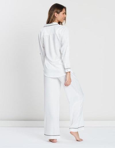 Sabrina Long PJ Set - White - Homebodii
