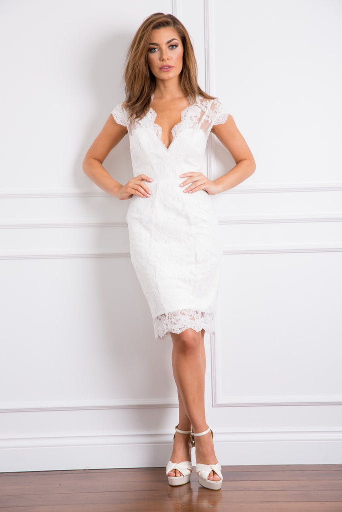 white Lace bridal shower dress HBSHE