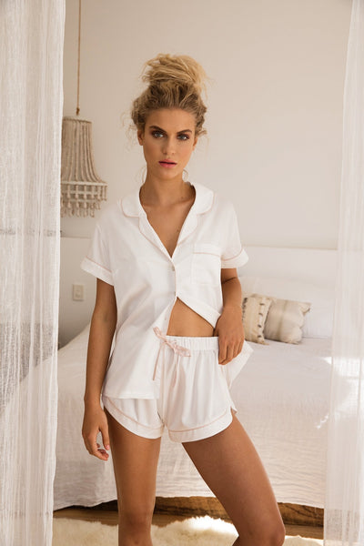 Grace Short Piping PJ Set - White - Homebodii