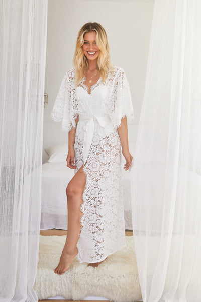 Saskia Lace Robe - Long - Homebodii