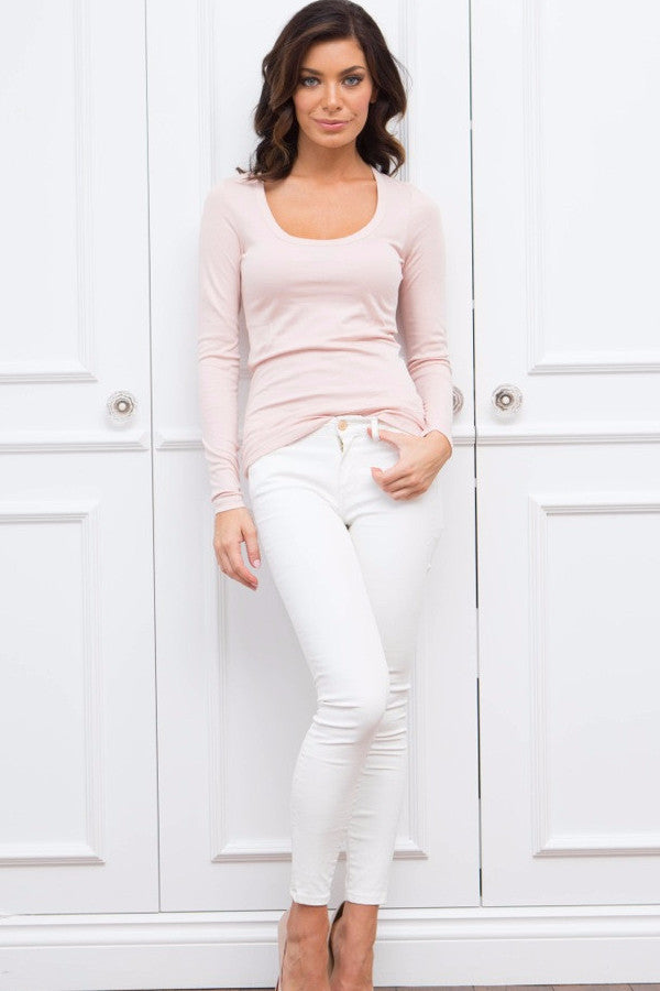 Organic Pima Cotton Long Sleeve T-Shirt Dusty Rose