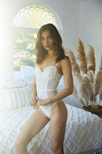 Ingrid Bodysuit - White - Homebodii