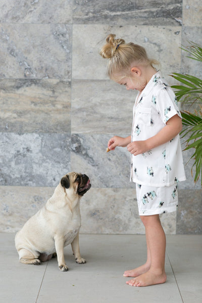 Children's Piping PJ Set - Ruby Pug - Homebodii