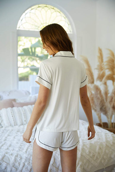 Grace Rayon Short PJ Set - White - Homebodii