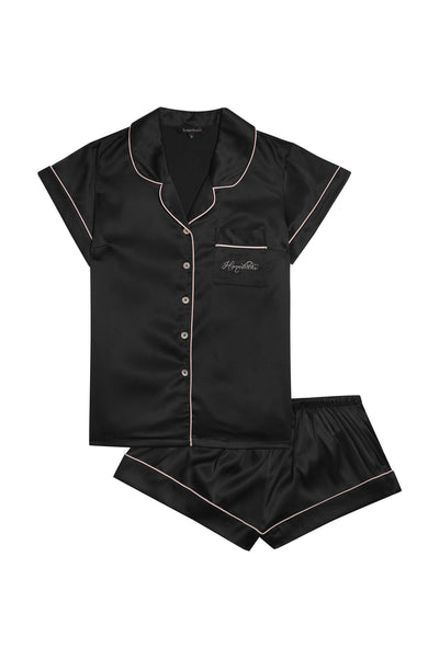 Short Piping Pyjama Set Black - Homebodii
