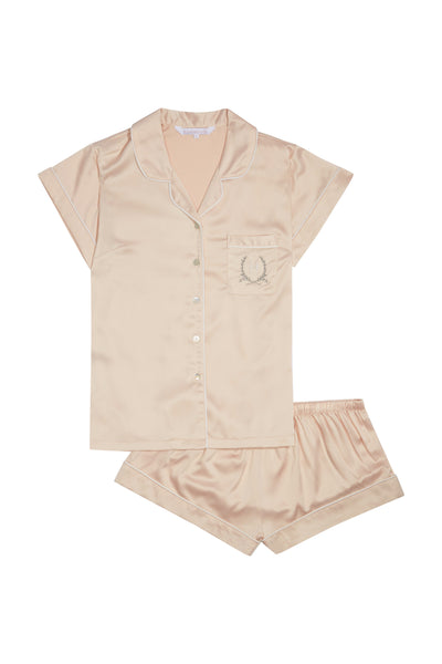 Short Pyjama Piping Set Rose - Homebodii