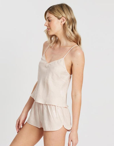 Linen Cami Set - Blush - Homebodii