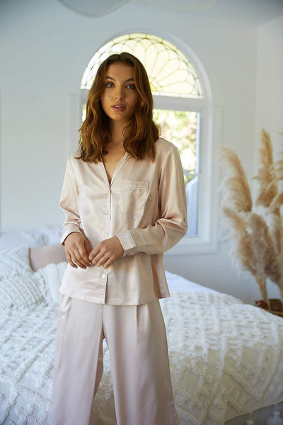 Sabrina Long PJ Set - Blush - Homebodii