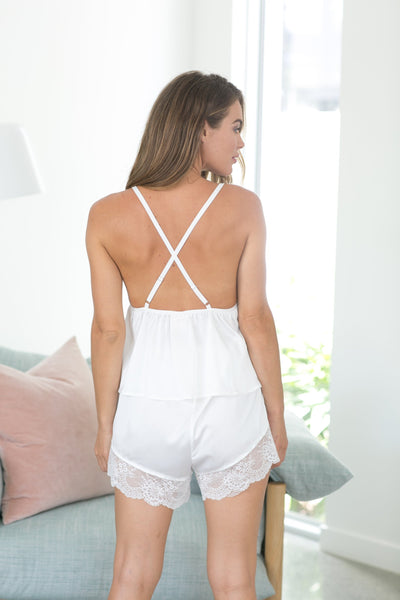 Irina Cami Set - White - Homebodii