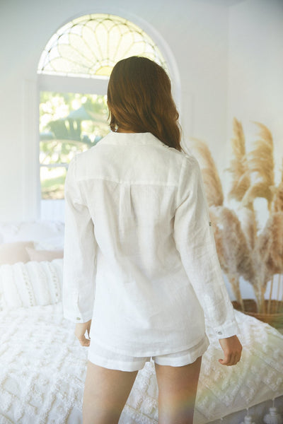 Linen Long Sleeve PJ Set - White - Homebodii