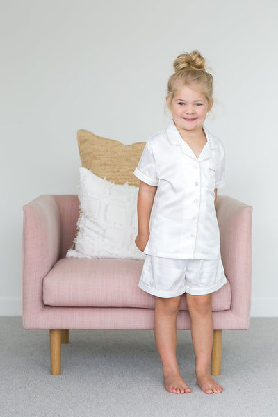 Children's Piping PJ Set - White - Homebodii