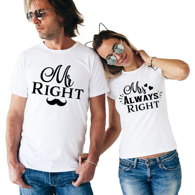 """Mr Right Mrs Always Right"" Matching Couple T Shirt"