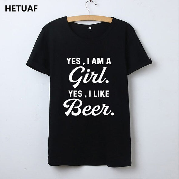 HETUAF 2018 Vintage Yes I Am A Girl Like Beers T Shirt