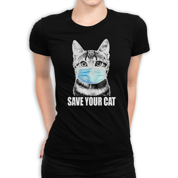 """Save Your Cat"" Funny Corona Women's T-Shirt,"