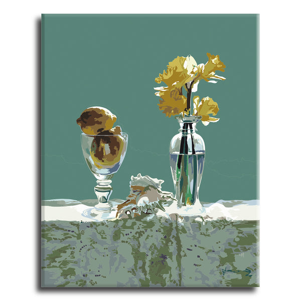 Yellow flower in glass bottle Paint by Numbers Kit - Texture Of Dreams
