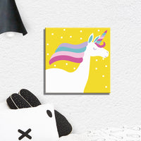 "UNICORN Paint by Numbers Kit for CHILDREN 10""x10"" (Yellow background) - Texture Of Dreams"