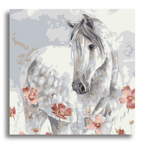 Floral Horse- Paint by Numbers Kit - Texture Of Dreams