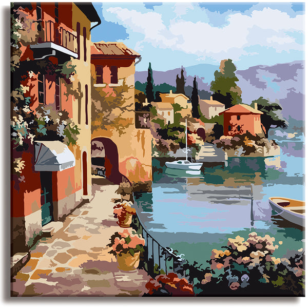 Romantic Town- Paint by Numbers Kit - Texture Of Dreams