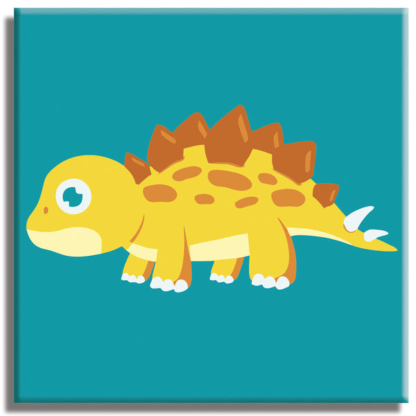 "Stegosaurus PAINT BY NUMBERS KIT for CHILDREN 10""x10"" - Texture Of Dreams"
