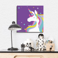 "Unicorn Paint by Numbers Kit for children 10""x10""(Purple background) - Texture Of Dreams"