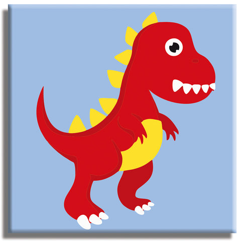 "Tyrannosaurus rex  Paint by Numbers Kit for CHILDREN 10""x10"" - Texture Of Dreams"