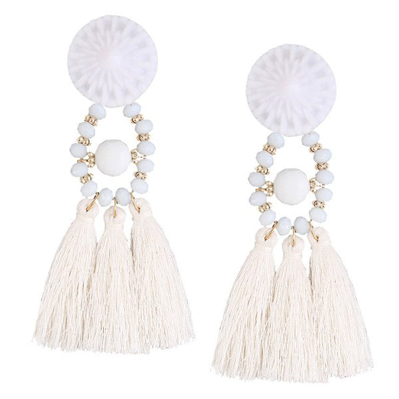 White Tassle Earrings