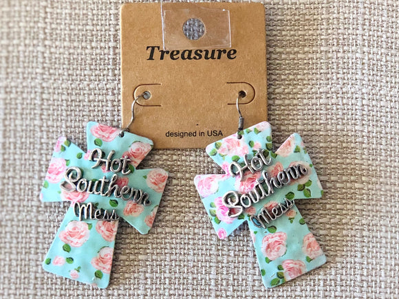 Hot Southern Mess Floral Cross Earrings