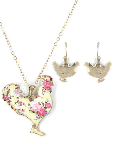 Shabby Chic Floral Rooster Set