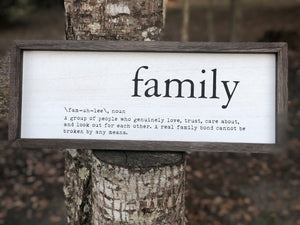Family Definition Wood Sign