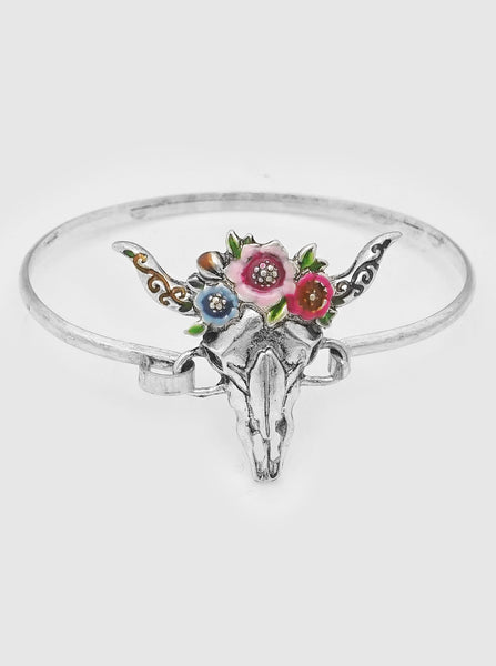 Steer Head Floral Bangle Bracelet