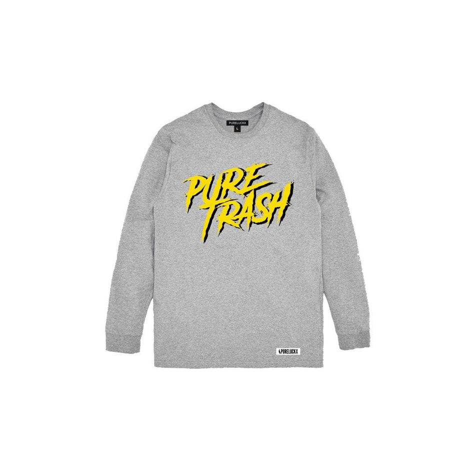 PURE TRASH LONG SLEEVE [GREY] - PURELUCKX Shop