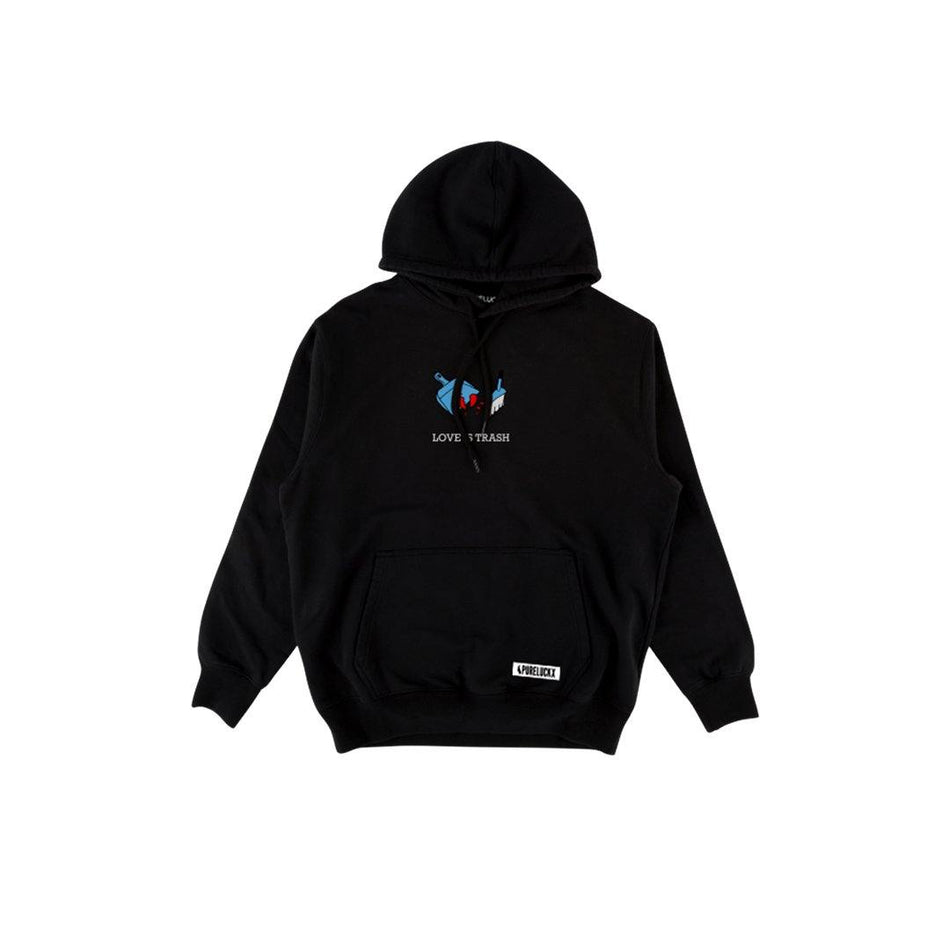 LOVE IS TRASH HOODIE [BLACK] - PURELUCKX Shop