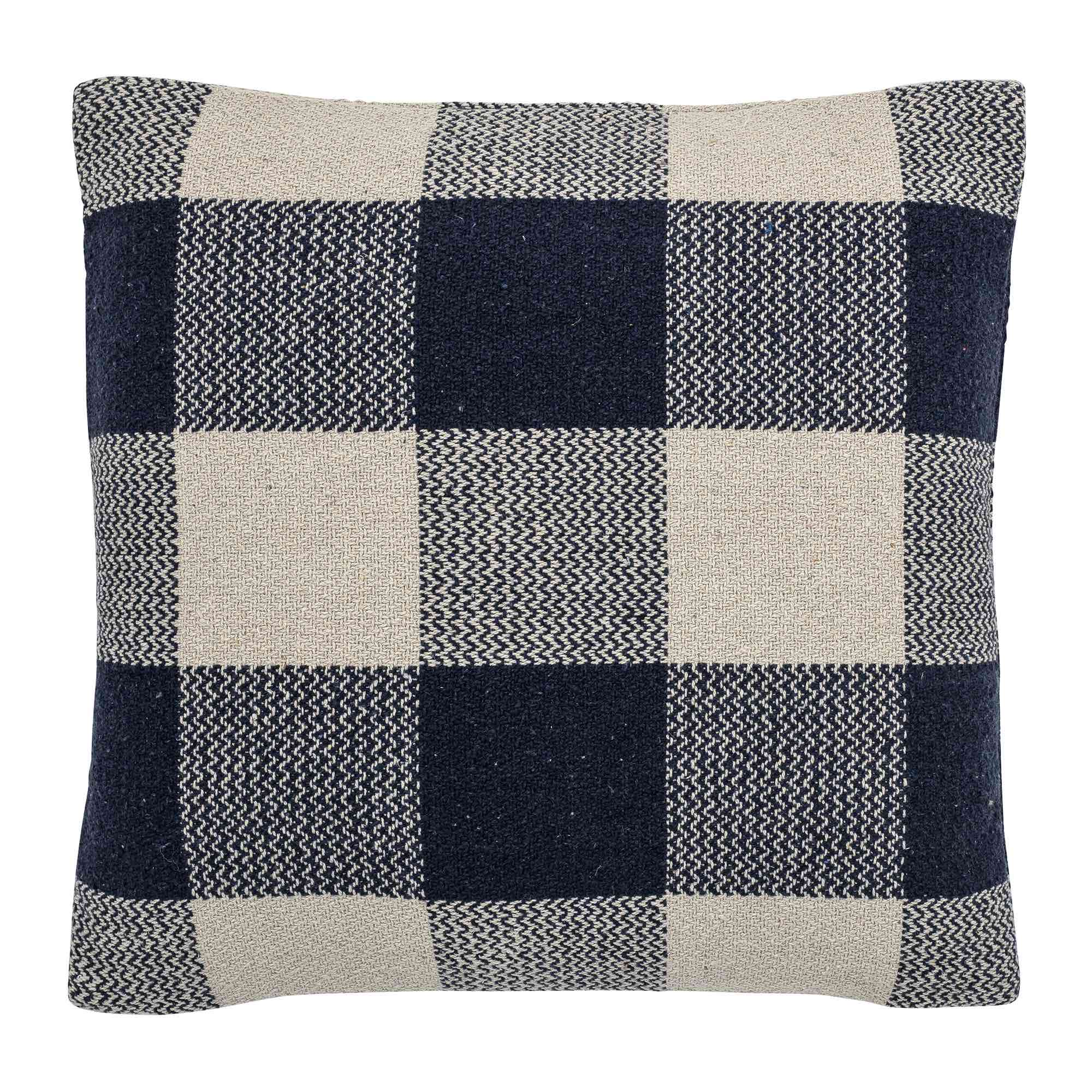 Bloomingville Cushion Blue, Recycled Cotton - Scandi Minimal