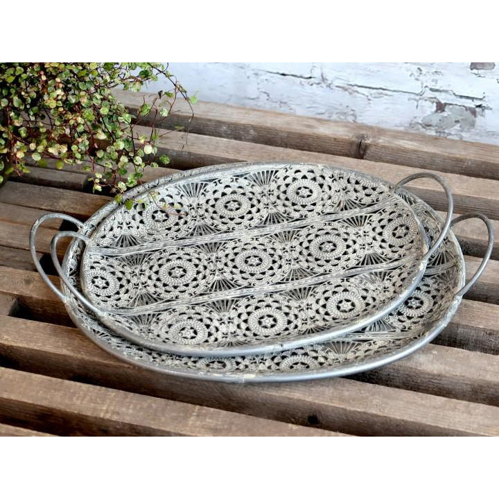 Chic Antique Zink Trays with pattern