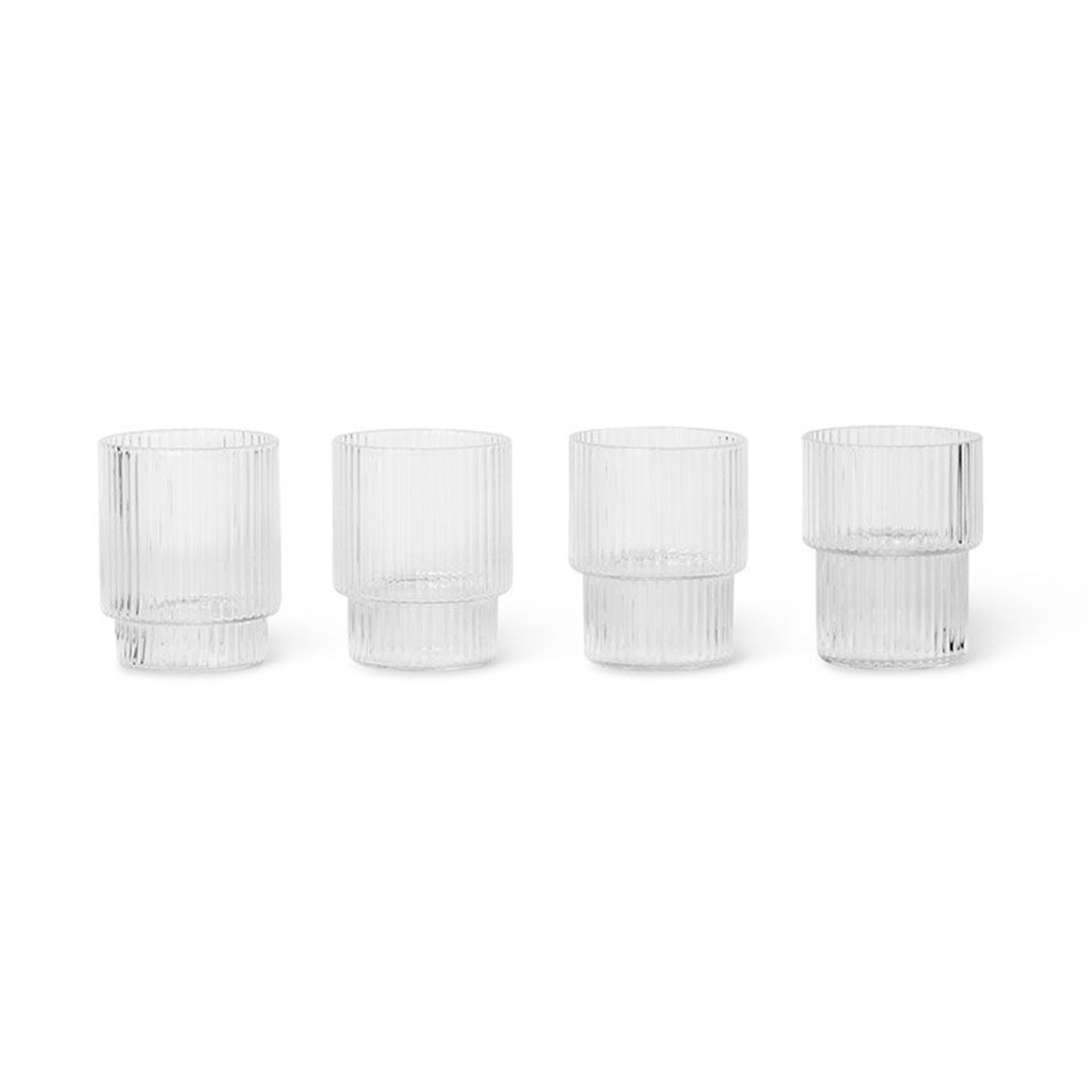 Ferm Living Ripple Small Glasses Set Of 4 - Scandi Minimal
