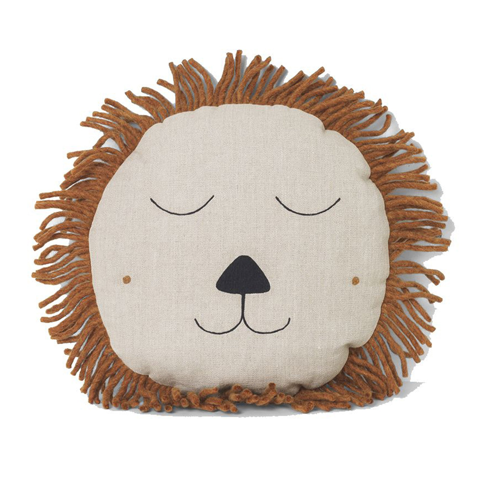Ferm Living Safari Lion Cushion In Natural - Scandi Minimal