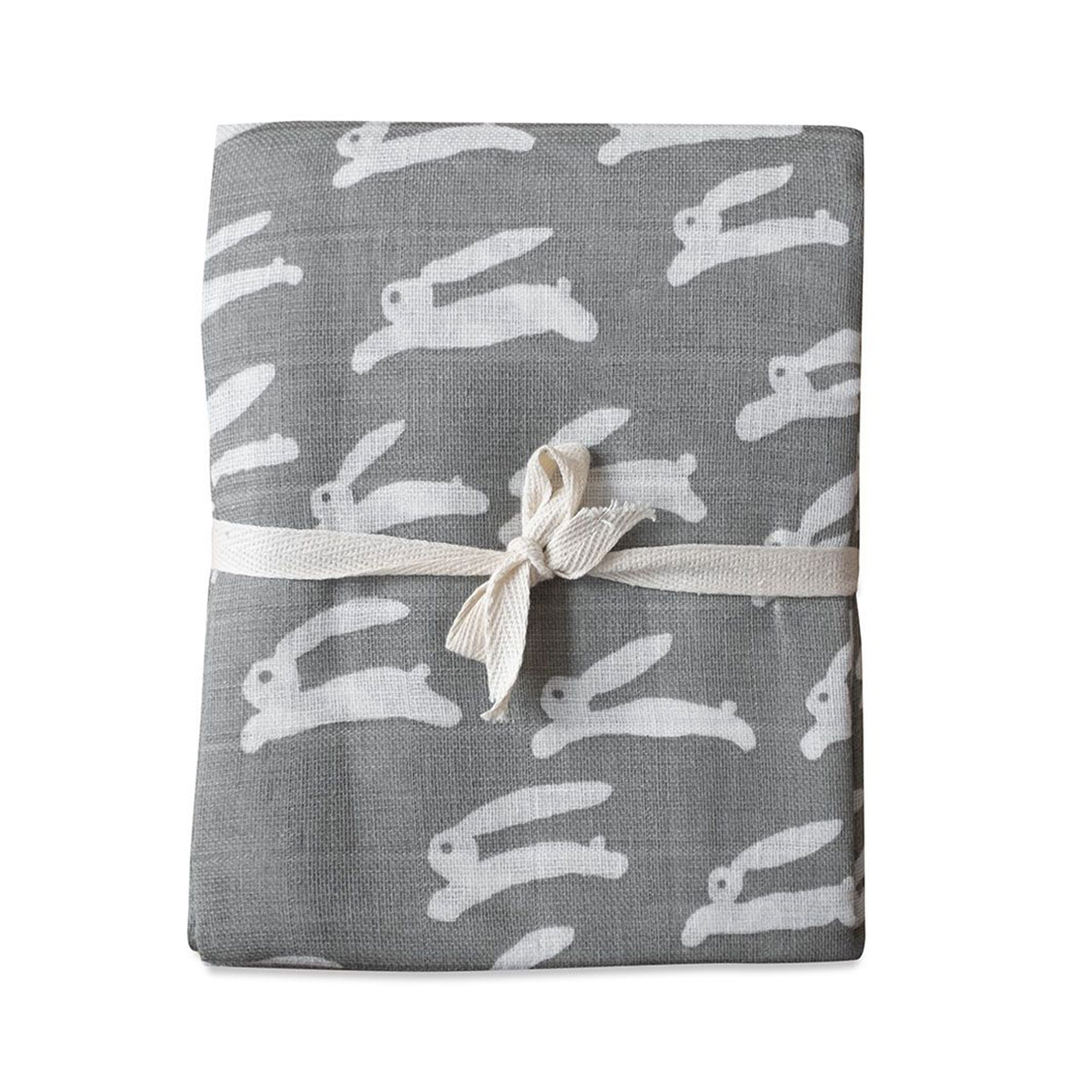 Fine Little Day Rabbit Muslin Blanket Grey - Scandi Minimal