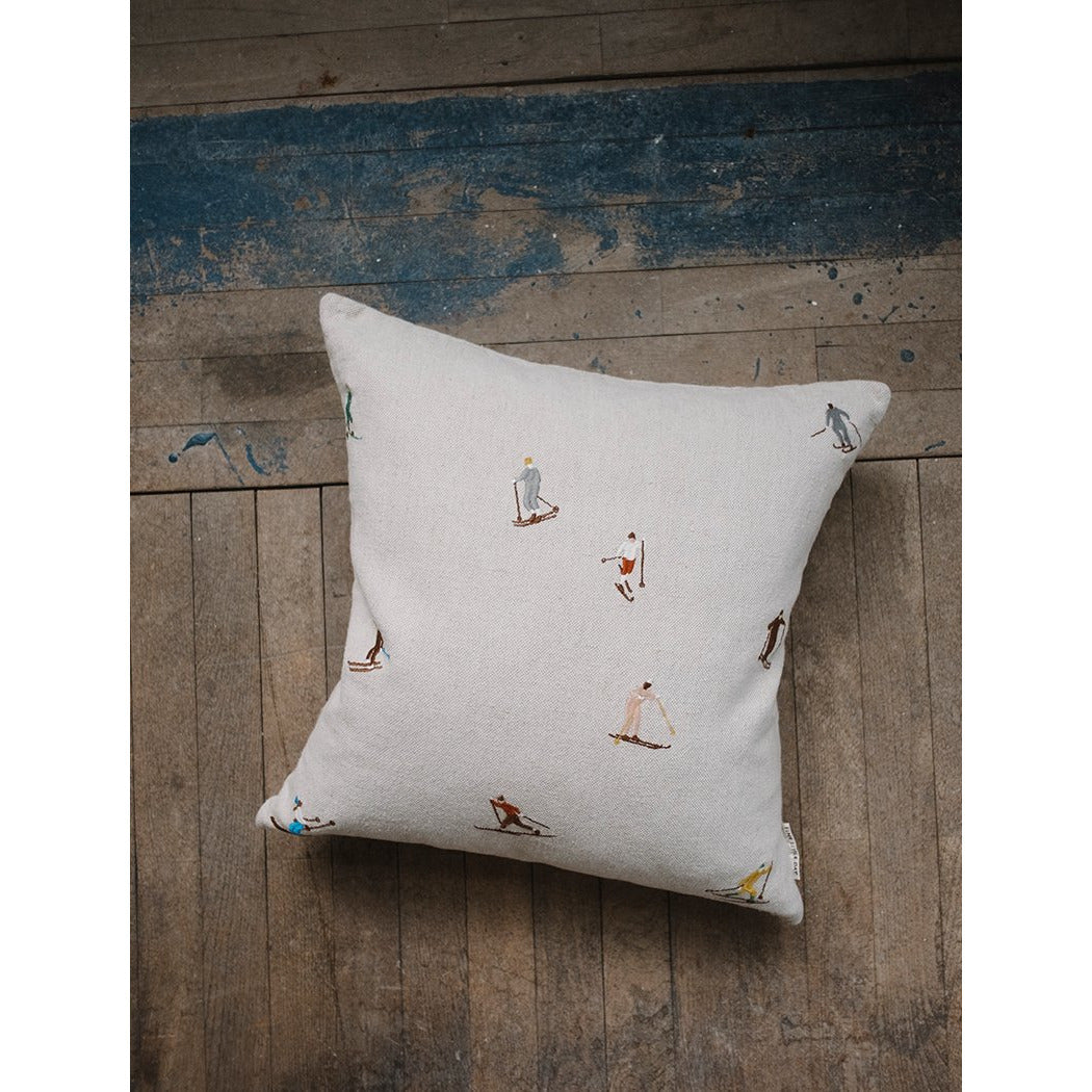 Fine Little Day Skiers Embroidered Cushion Cover - Scandi Minimal
