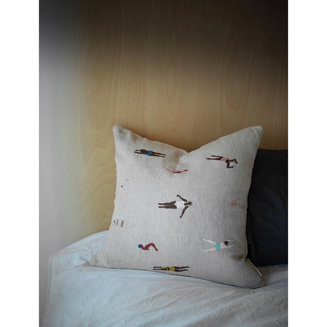 Fine Little Day Swimmers Embroidered Cushion Cover - Scandi Minimal