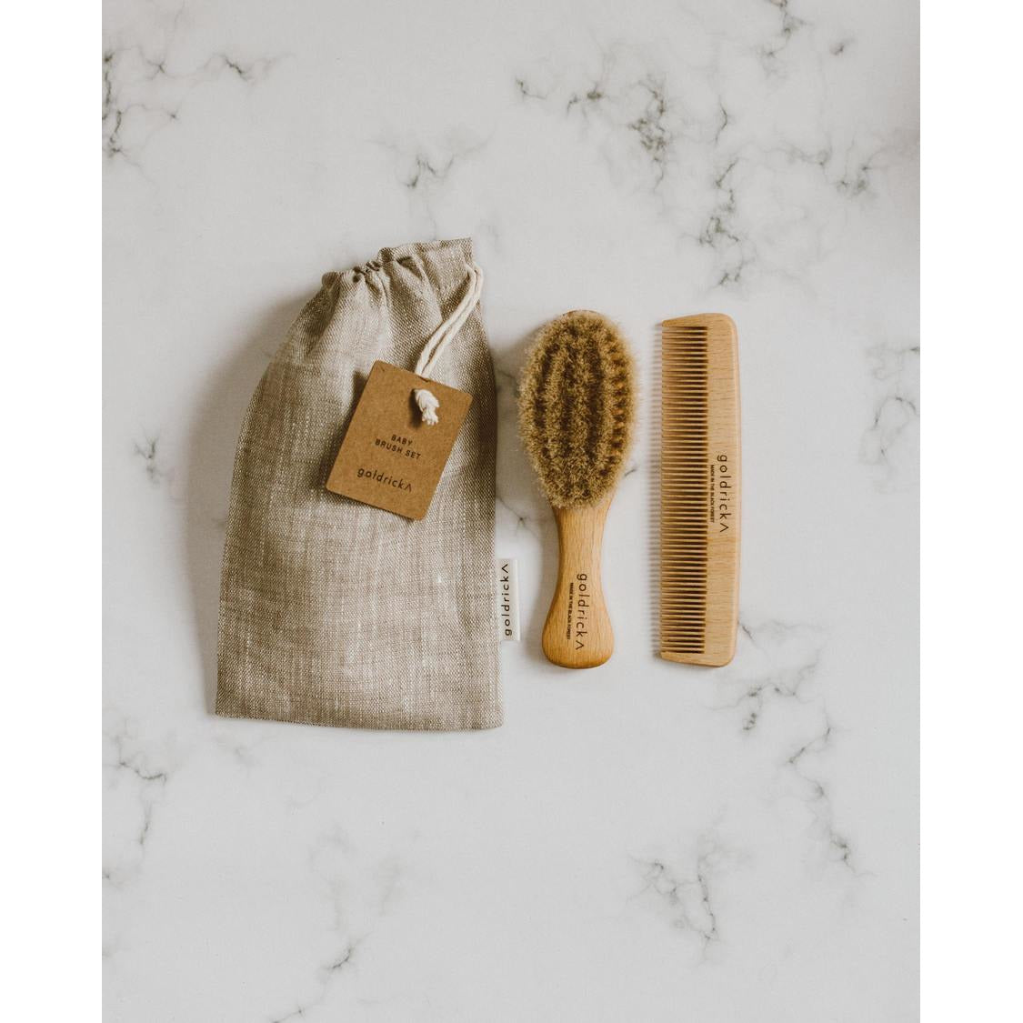 Goldrick Baby Brush Set | Brush & Comb | Handmade in England | Child Size - Scandi Minimal