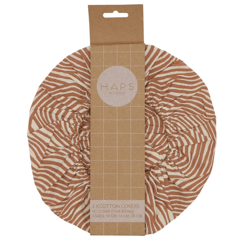 Haps Nordic 3 Pack Food Cover Terracotta Wave (different sizes) - Scandi Minimal