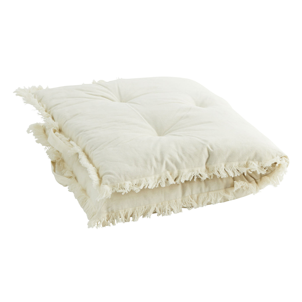 Madam Stoltz Cotton mattress w/ fringes in white - Scandi Minimal