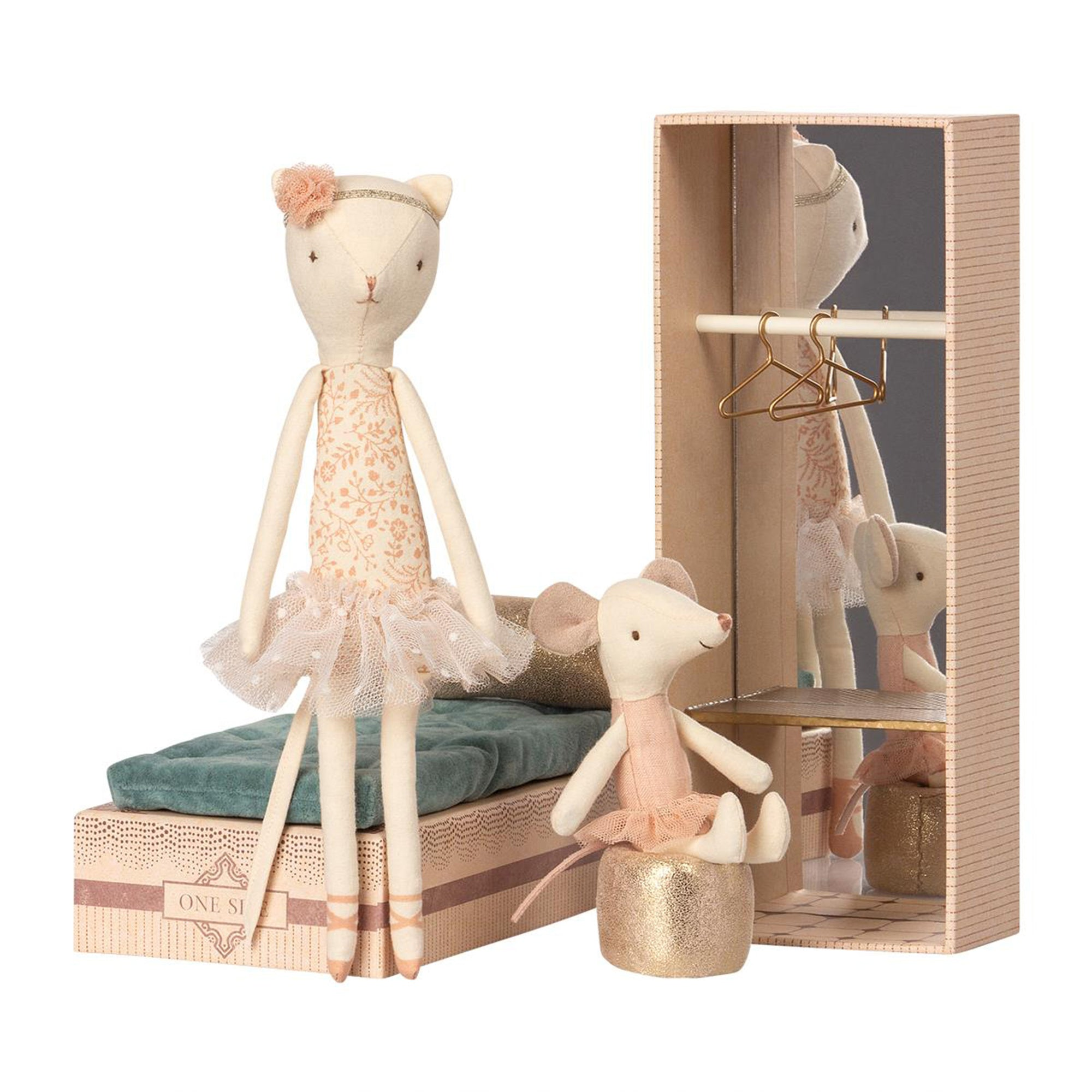 Maileg Ballerina Dancing Cat & Mouse In Shoe Box - Scandi Minimal