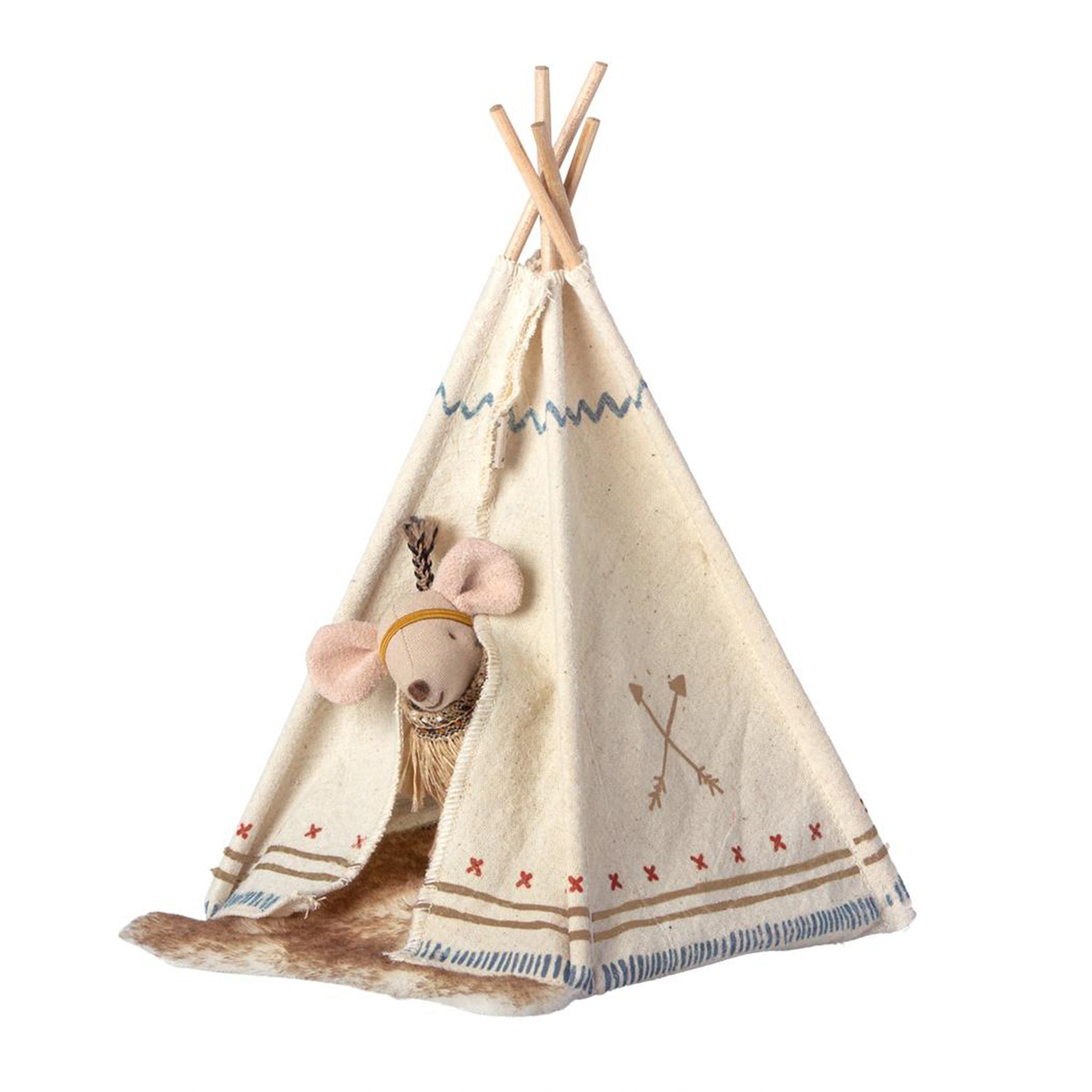 Maileg Little Feather Tent with Little Sister Mouse - Scandi Minimal