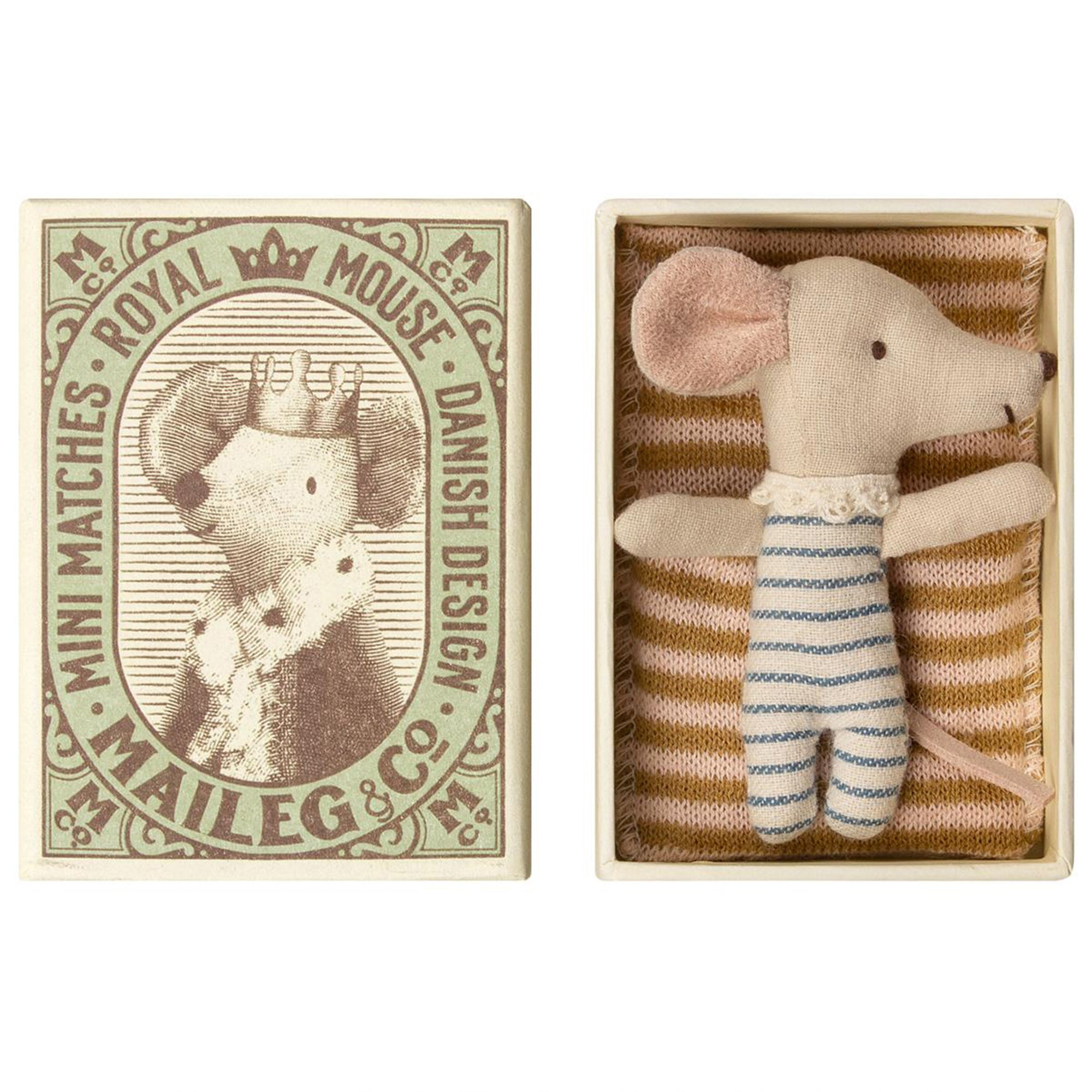 Maileg Sleepy Wakey Mouse Boy In Box - Scandi Minimal