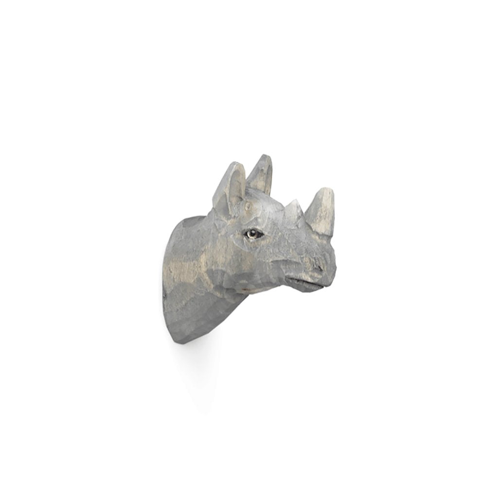 Ferm Living Animal Hand-carved Hook - Rhino - Scandi Minimal